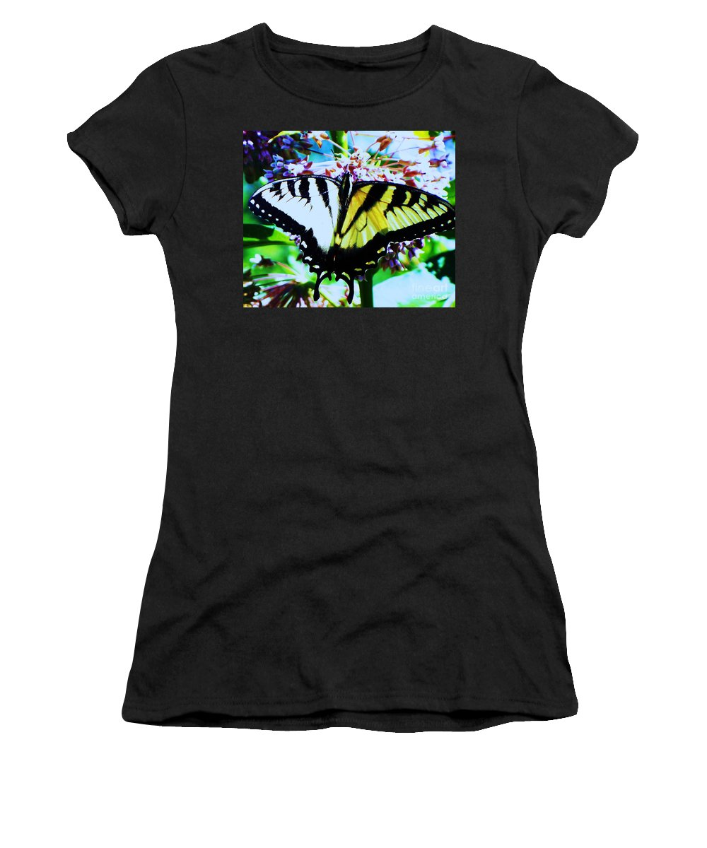 Butterfly Women's T-Shirt (Athletic Fit) featuring the photograph Tiger Swallowtail Butterfly by Eric Schiabor
