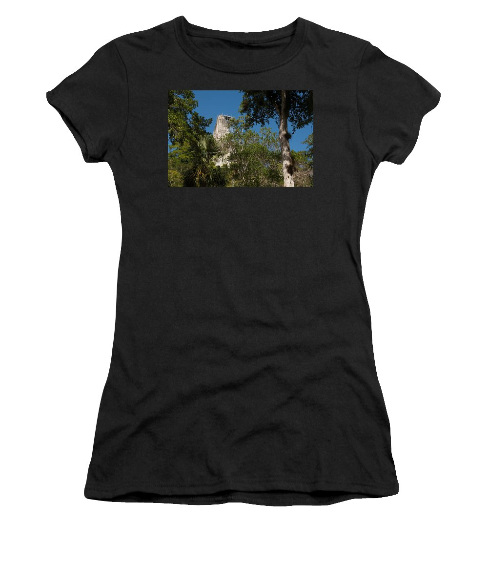 Belize Women's T-Shirt (Athletic Fit) featuring the photograph Tikal Pyramid 4a by Michael Bessler