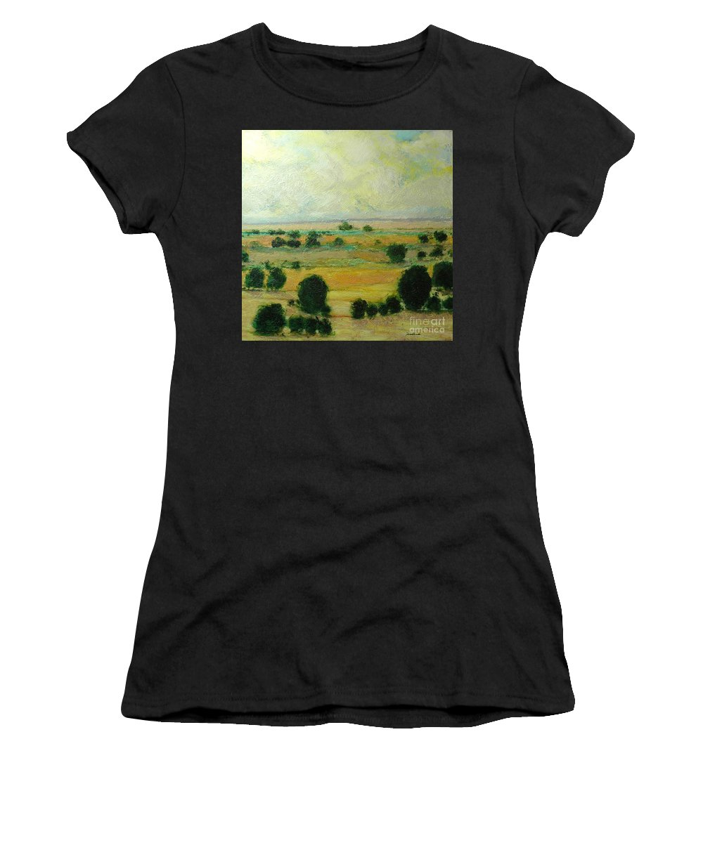Landscape Women's T-Shirt (Athletic Fit) featuring the painting Till The Clouds Rolls By by Allan P Friedlander