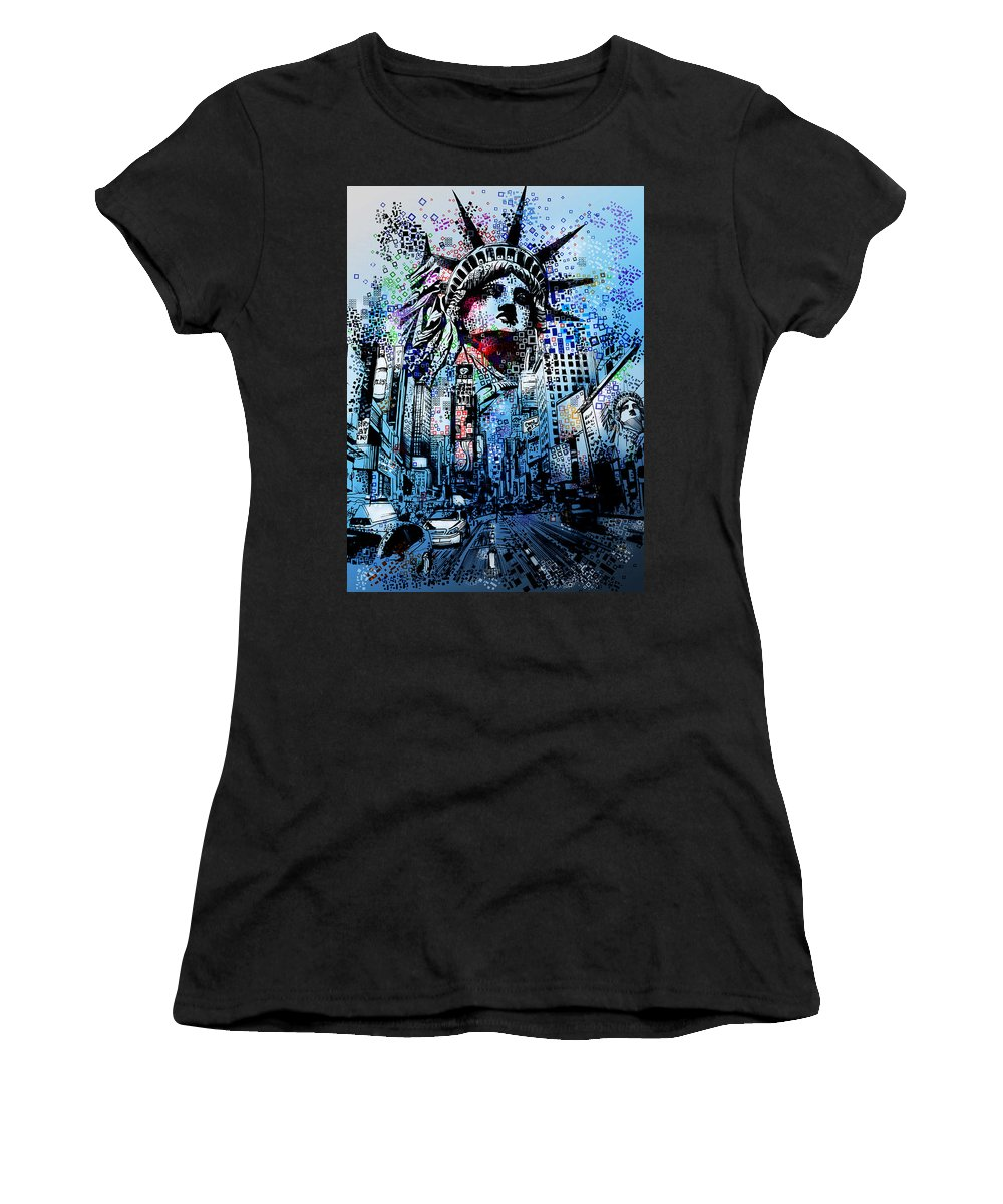 New York Women's T-Shirt featuring the painting Times Square 2 by Bekim M