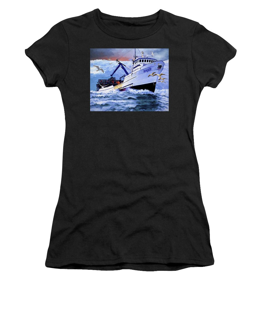Alaskan King Crabber Women's T-Shirt (Athletic Fit) featuring the painting Time To Go Home by David Wagner
