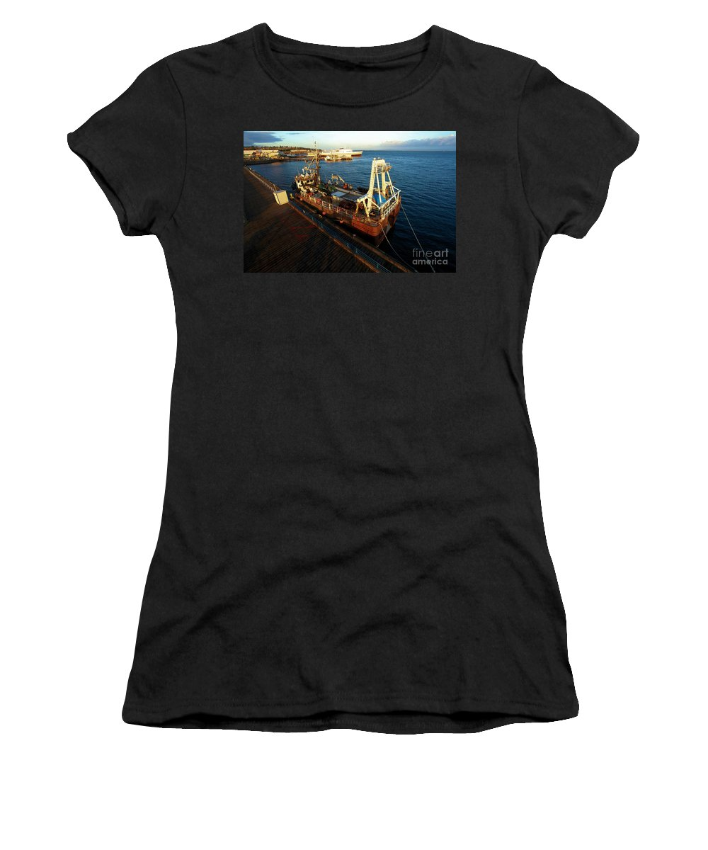 Port Angles Women's T-Shirt (Athletic Fit) featuring the photograph Time To Work by Adam Jewell
