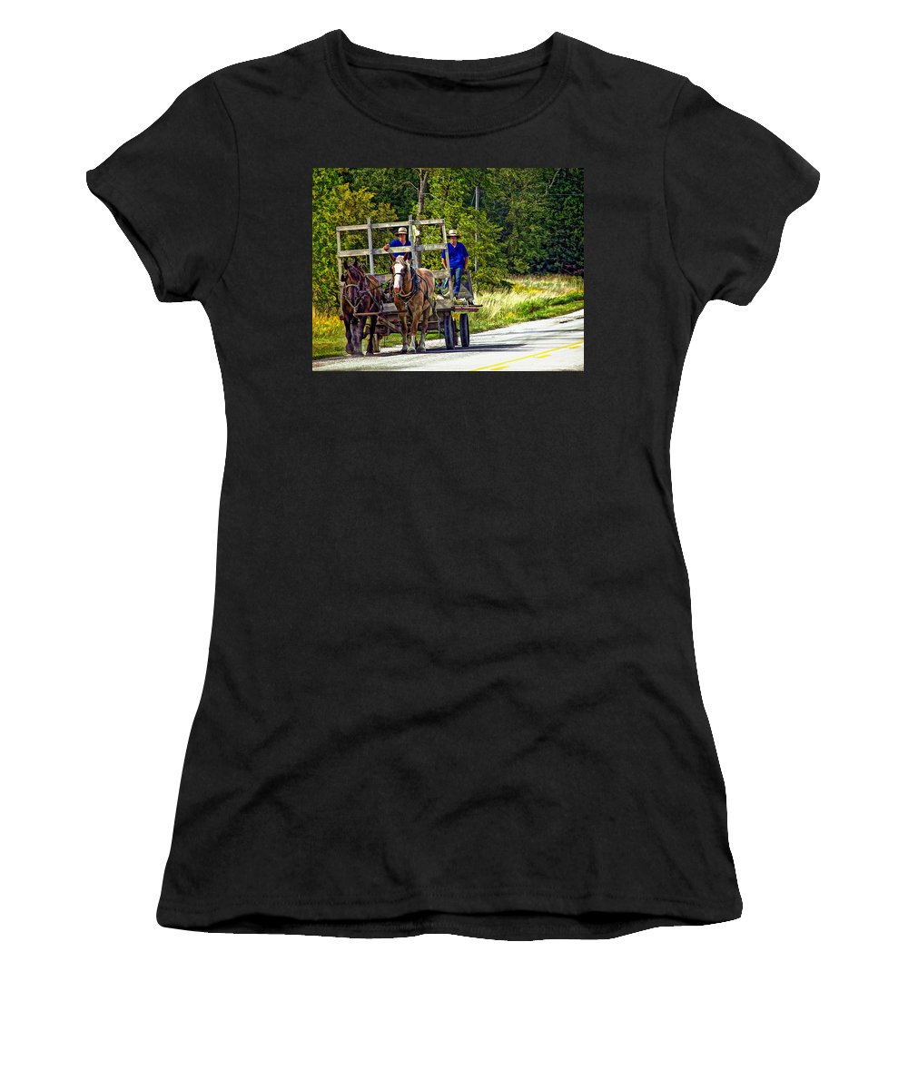 Amish Women's T-Shirt (Athletic Fit) featuring the photograph Time Travelers by Steve Harrington