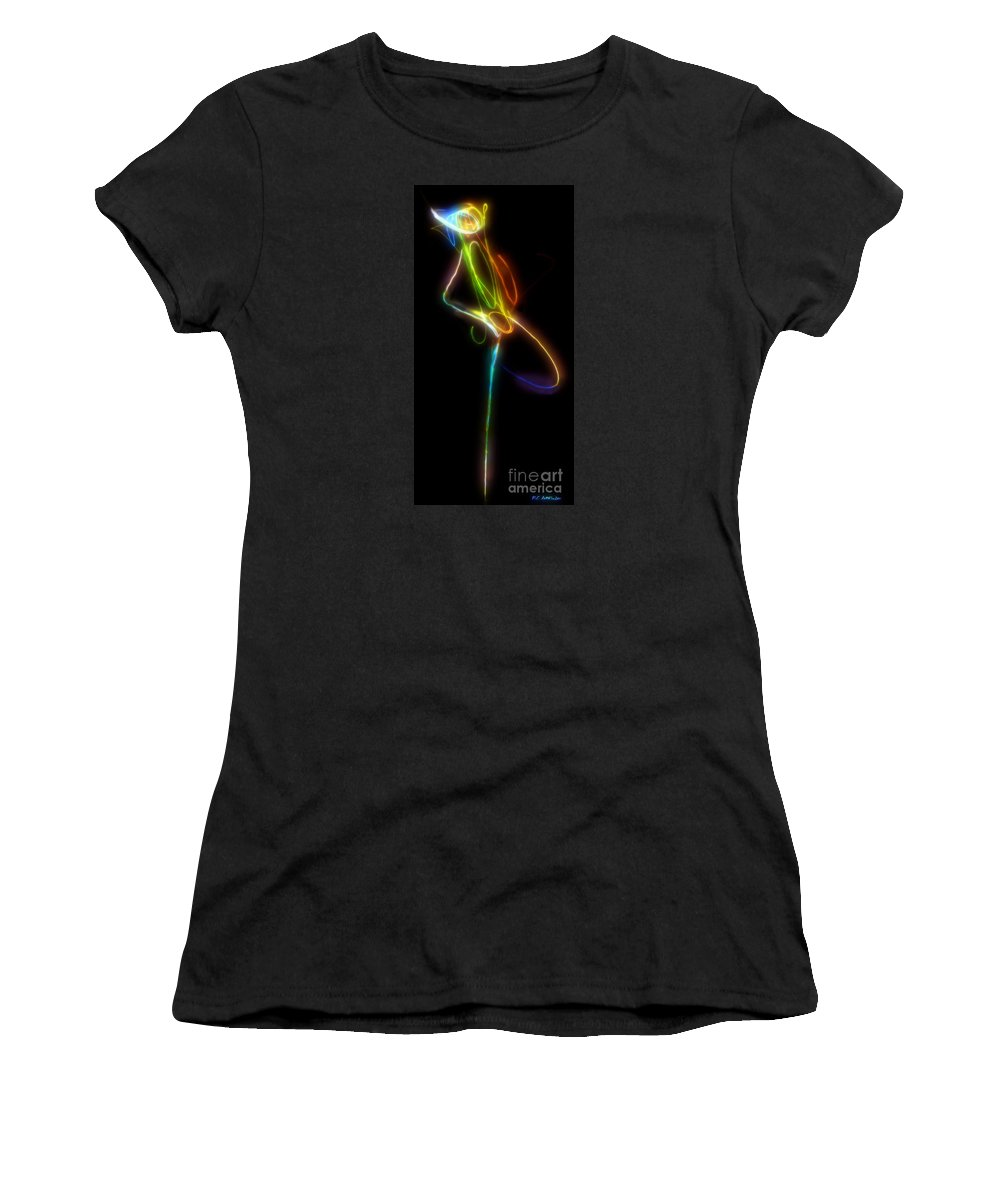 Abstract Women's T-Shirt (Athletic Fit) featuring the digital art Tiny Dancer by RC DeWinter