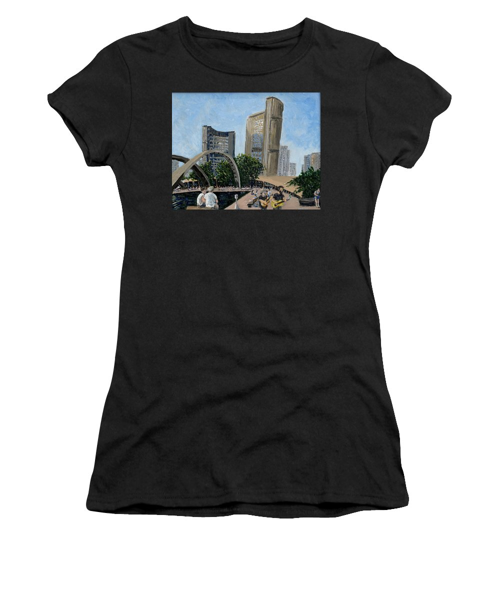 Toronto Women's T-Shirt (Athletic Fit) featuring the painting Toronto City Hall by Ian MacDonald