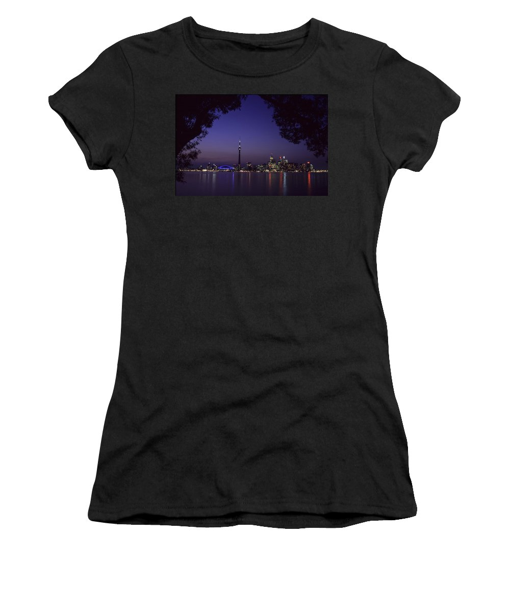 Toronto Women's T-Shirt (Athletic Fit) featuring the photograph Toronto Skyline At Night by Richard Kitchen