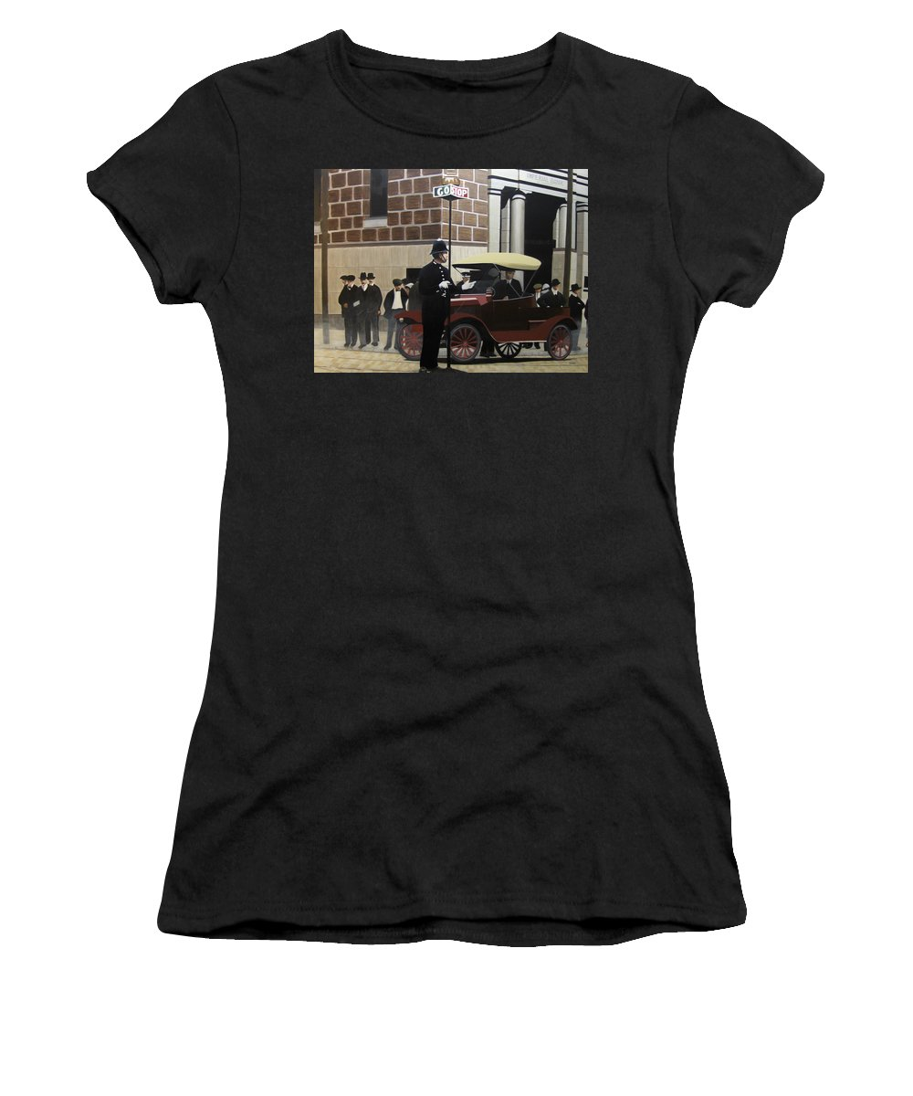 Streetscapes Women's T-Shirt (Athletic Fit) featuring the painting Toronto Traffic Cop 1912 by Kenneth M Kirsch