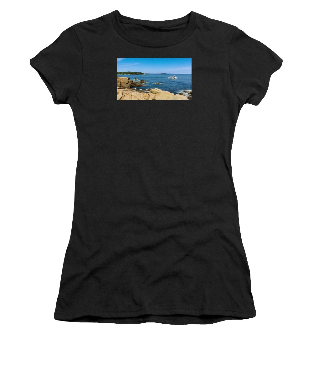 Mount Desert Island Women's T-Shirt featuring the photograph Touring The Rocky Shore by John M Bailey