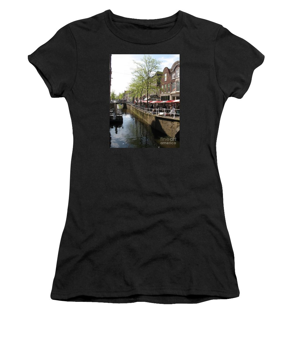 Town Canal Women's T-Shirt (Athletic Fit) featuring the photograph Town Canal - Delft by Christiane Schulze Art And Photography