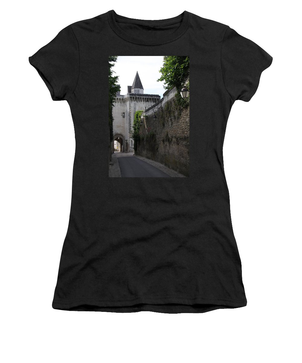Town Gate Women's T-Shirt featuring the photograph Town Gate - Loches - France by Christiane Schulze Art And Photography