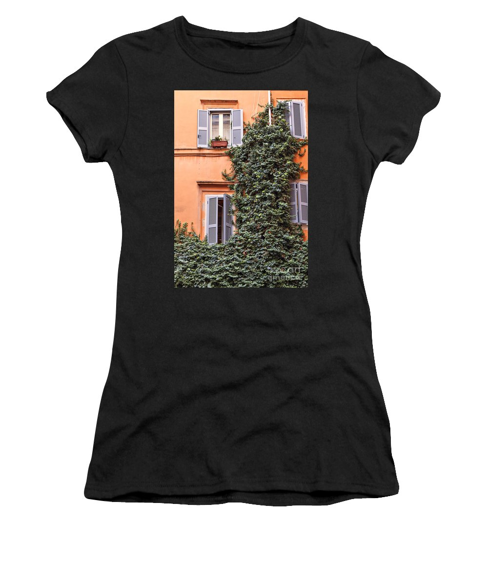 Shutters Women's T-Shirt (Athletic Fit) featuring the photograph Traditional House Rome Italy by Sophie McAulay