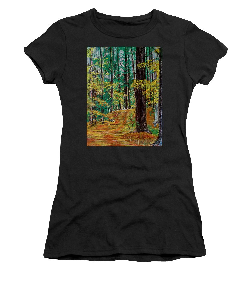New Hampshire Women's T-Shirt (Athletic Fit) featuring the pastel Trail At Wason Pond by Sean Connolly