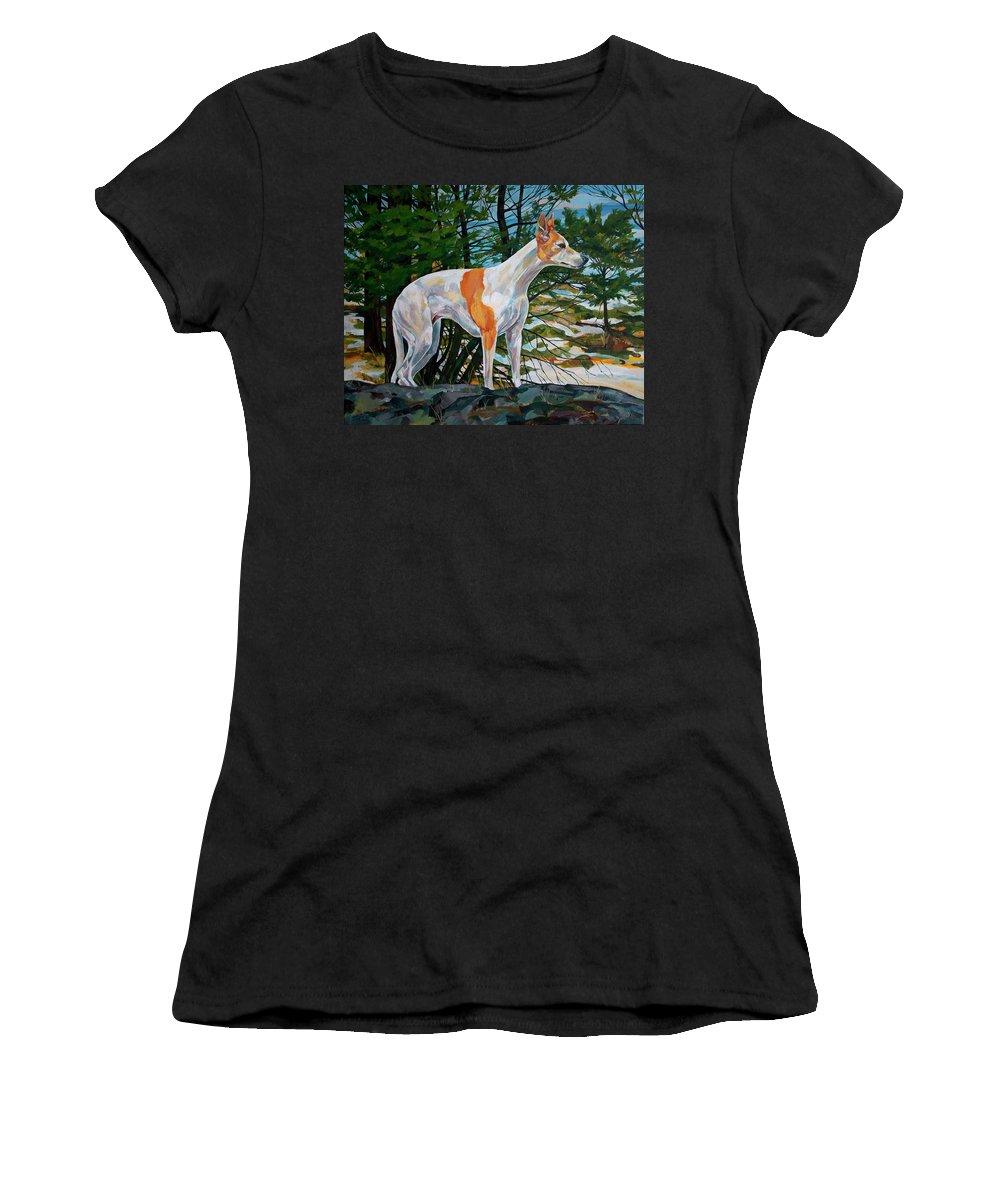 Whippet Women's T-Shirt featuring the painting Trailblazer by Derrick Higgins