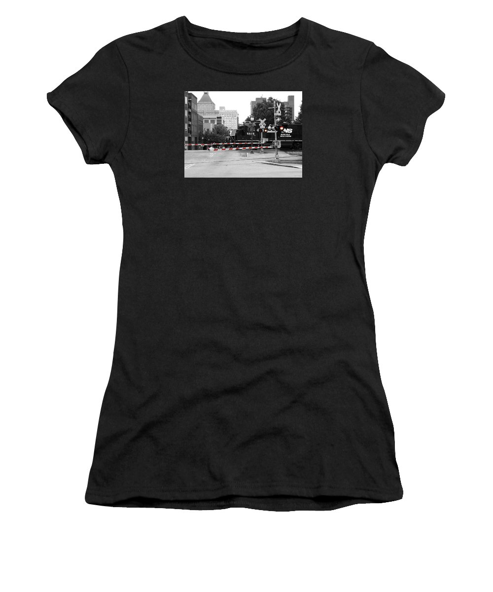 Train Women's T-Shirt featuring the photograph Train Crossing by Sandi OReilly