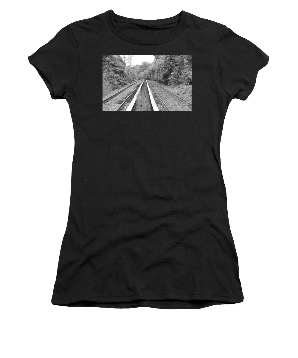 Train Tracks Running Through The Forest Women's T-Shirt featuring the photograph Train Tracks Running Through The Forest by John Telfer