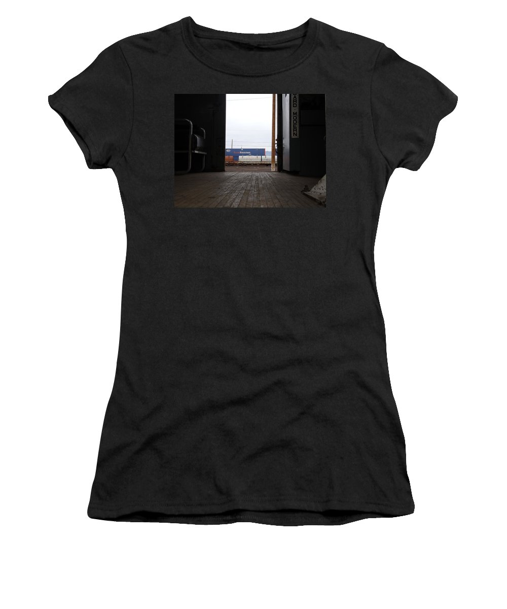 Train Women's T-Shirt featuring the photograph Train Yard by David S Reynolds