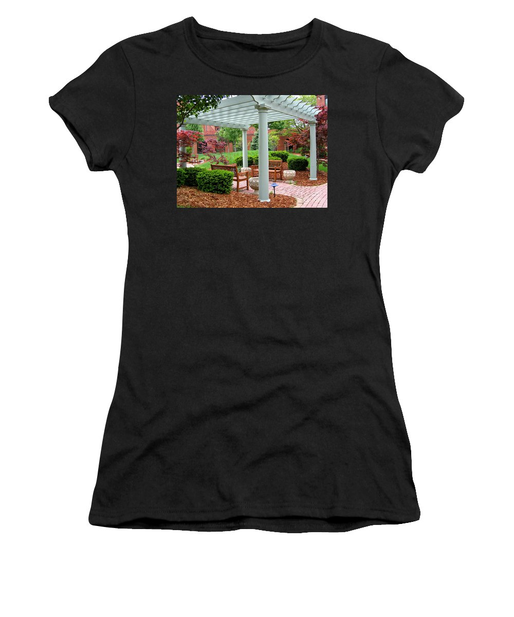 Courtyard Women's T-Shirt (Athletic Fit) featuring the photograph Tranquil Courtyard by Ann Horn