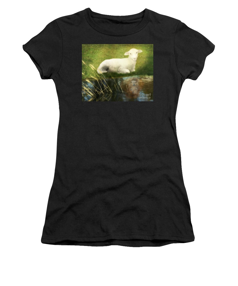 Lion And Lamb Art Women's T-Shirt (Athletic Fit) featuring the painting Transformation Lamb Or Lion by Constance Woods