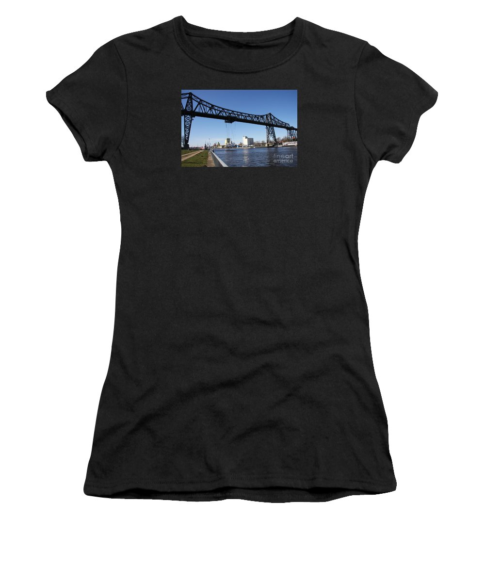 Bridge Women's T-Shirt (Athletic Fit) featuring the photograph Transporter Brigde - Schwebefaehre Rendsburg by Christiane Schulze Art And Photography