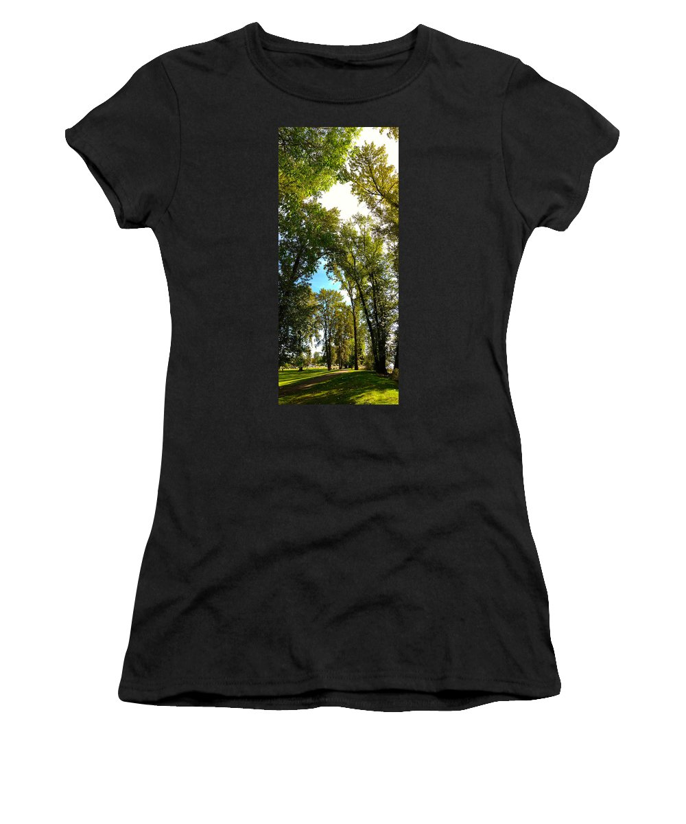 Trees Women's T-Shirt (Athletic Fit) featuring the photograph Tree Arches At Clackamette Park by Anna Porter