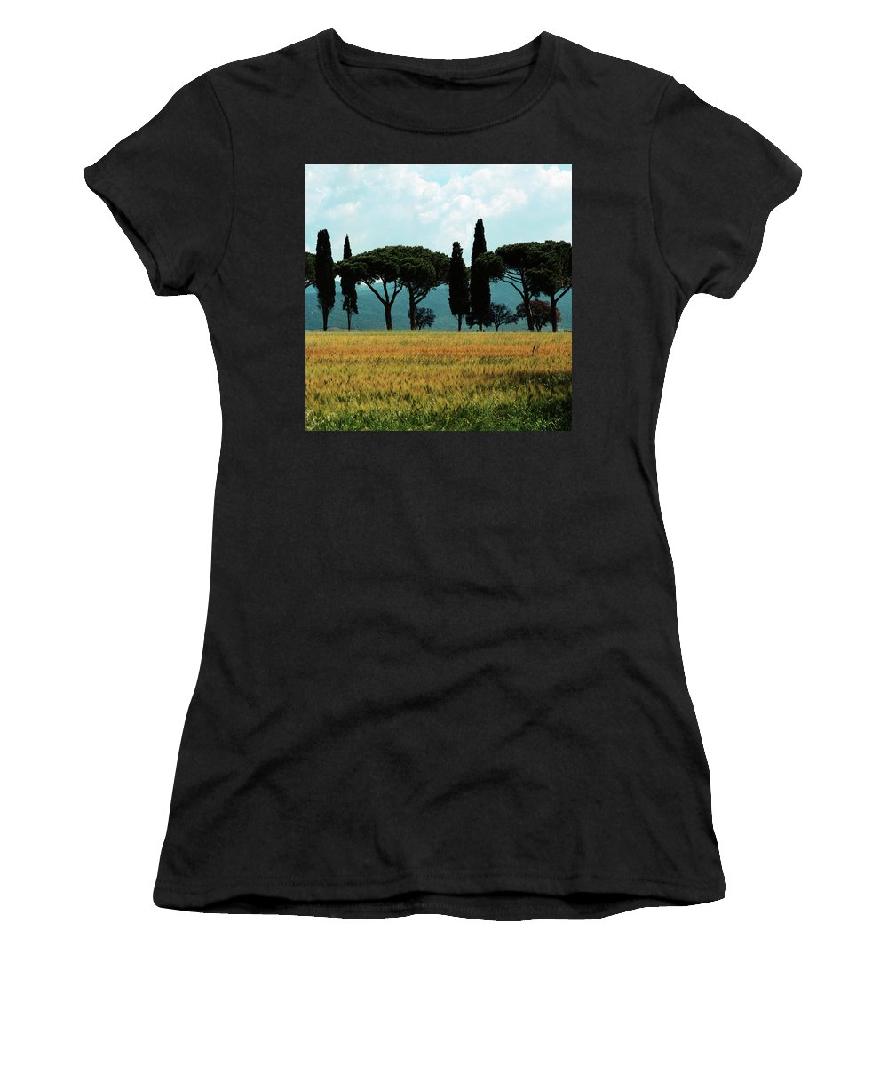 Heiko Women's T-Shirt (Athletic Fit) featuring the photograph Tree Row In Tuscany by Heiko Koehrer-Wagner