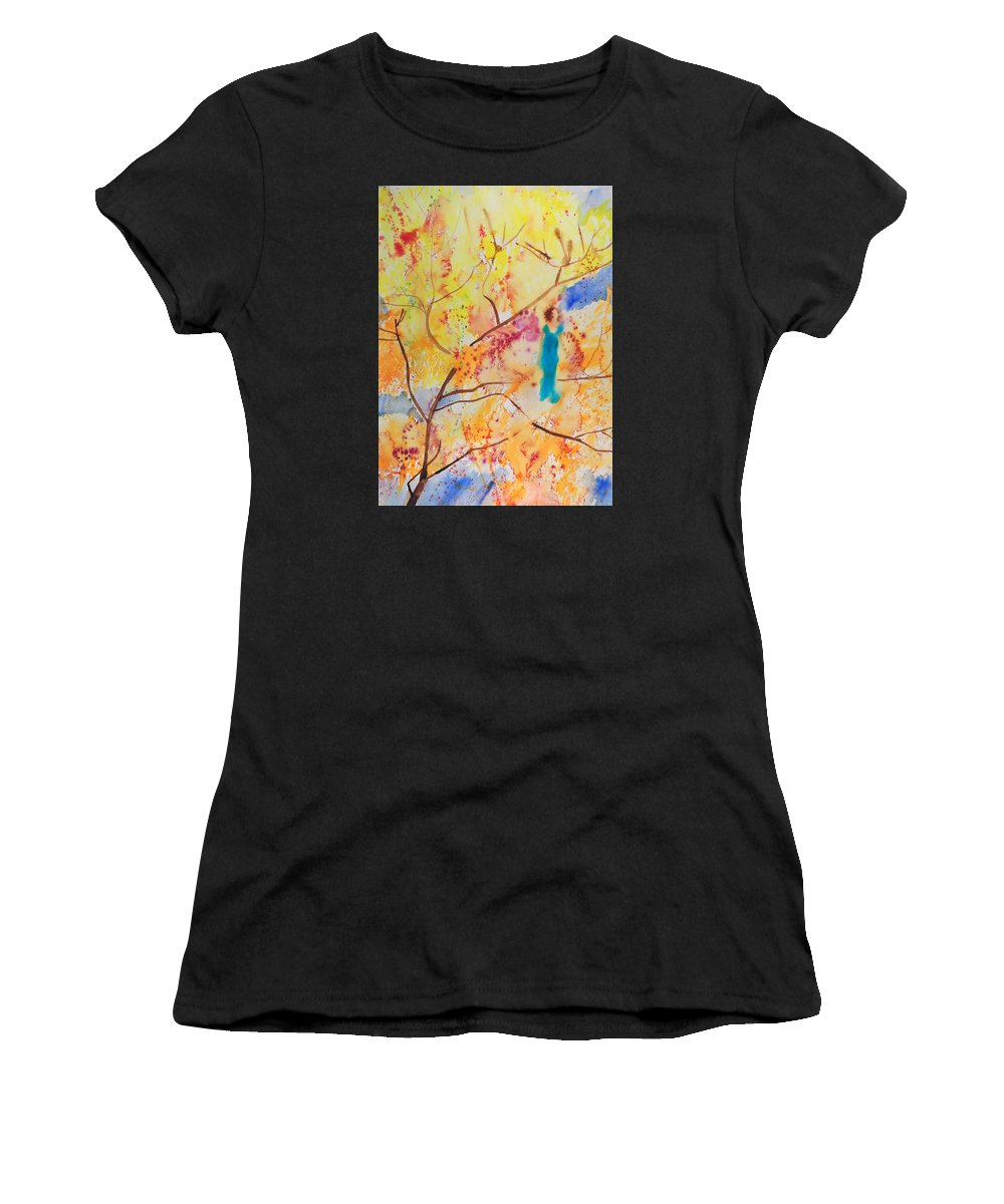 Levitation Women's T-Shirt (Athletic Fit) featuring the painting Tree Walking by Brook Powell