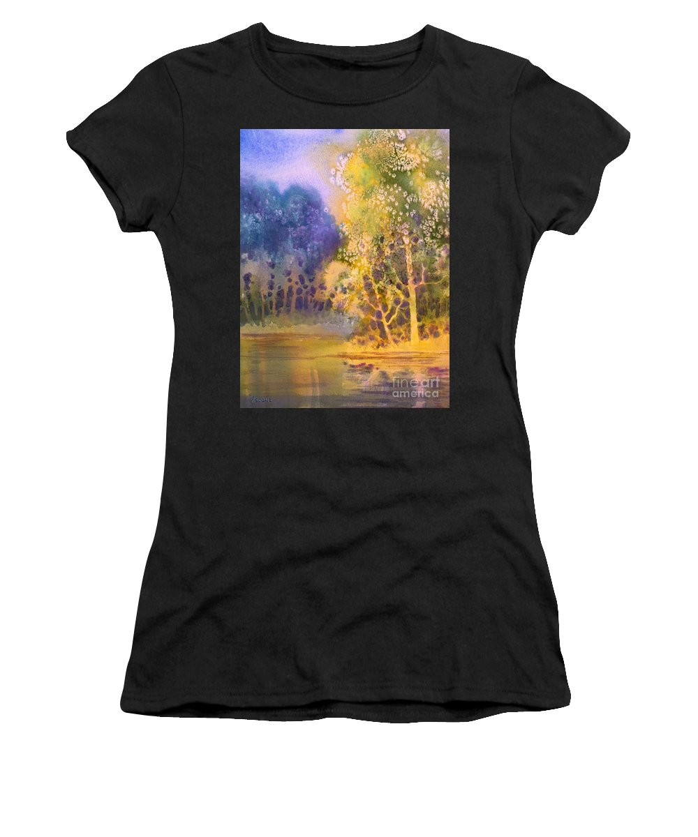 Trees And Water Women's T-Shirt featuring the painting Trees And Water by Teresa Ascone