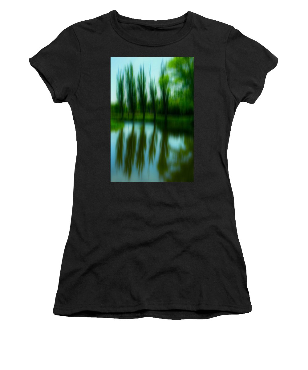 Abstract Women's T-Shirt featuring the photograph Trees By The Lake by Rabiri Us
