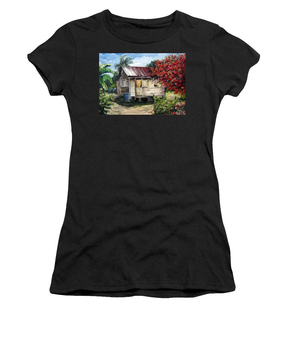 Landscape Paintings Tropical Paintings Trinidad House Paintings House Paintings Country Painting Trinidad Old Wood House Paintings Flamboyant Tree Paintings Caribbean Paintings Greeting Card Paintings Canvas Print Paintings Poster Art Paintings Women's T-Shirt (Athletic Fit) featuring the painting Trinidad Life 1 by Karin Dawn Kelshall- Best
