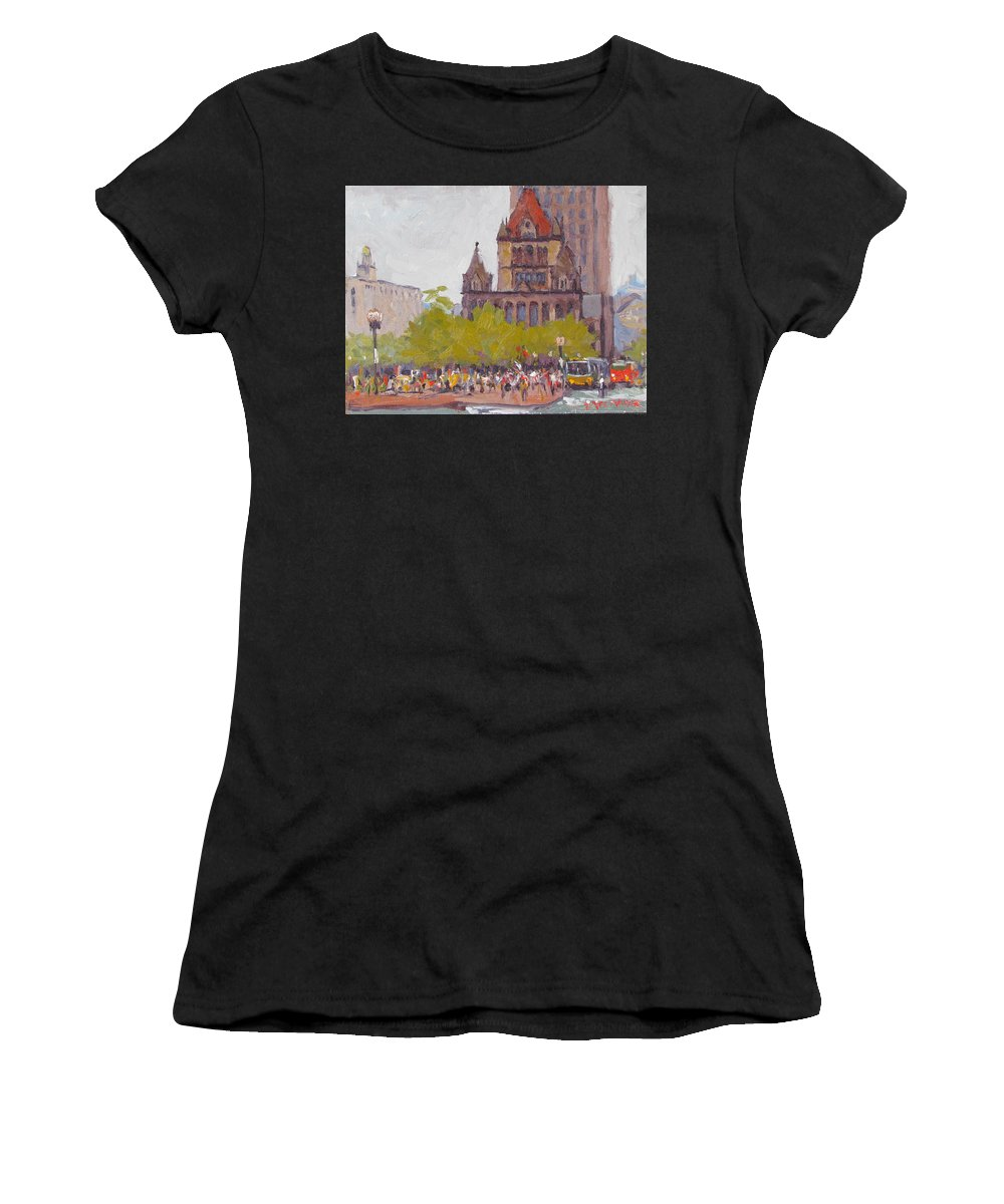 Boston Women's T-Shirt (Athletic Fit) featuring the painting Trinity Bustle by Dianne Panarelli Miller