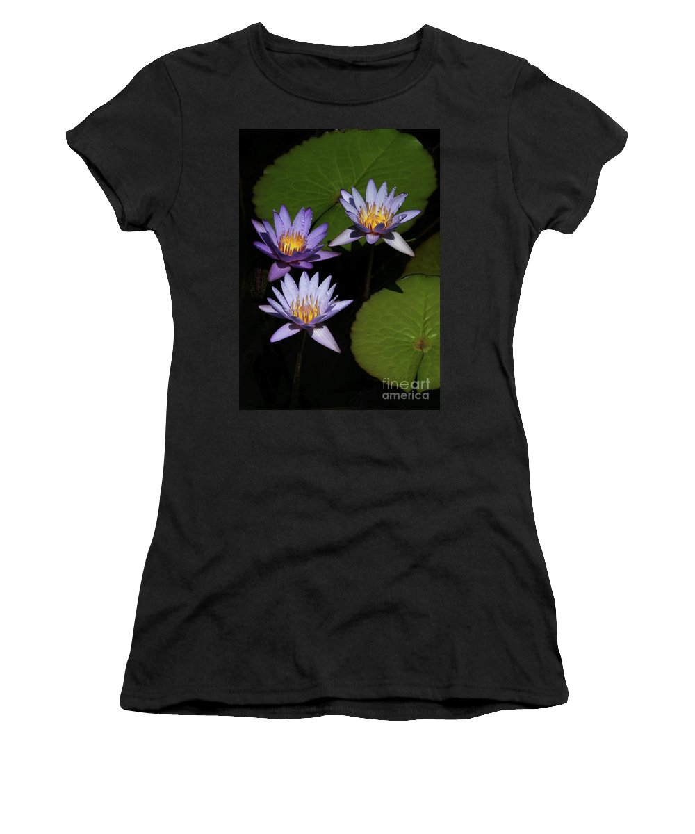 Three Women's T-Shirt (Athletic Fit) featuring the photograph Trio Of Purple Water Lilies by Sabrina L Ryan