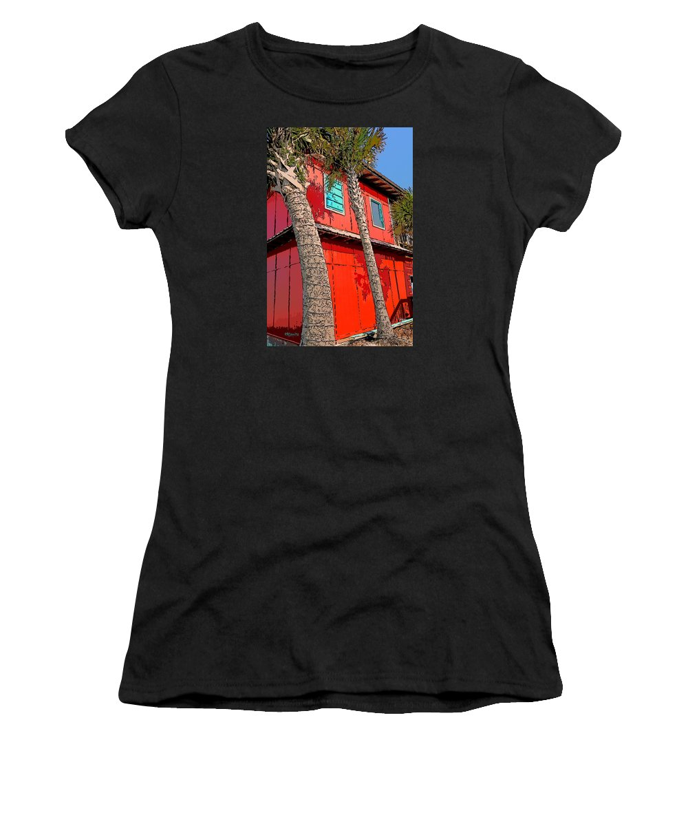 Rebecca Korpita Women's T-Shirt featuring the photograph Tropical Orange House Palm Trees - Whoa Now by Rebecca Korpita