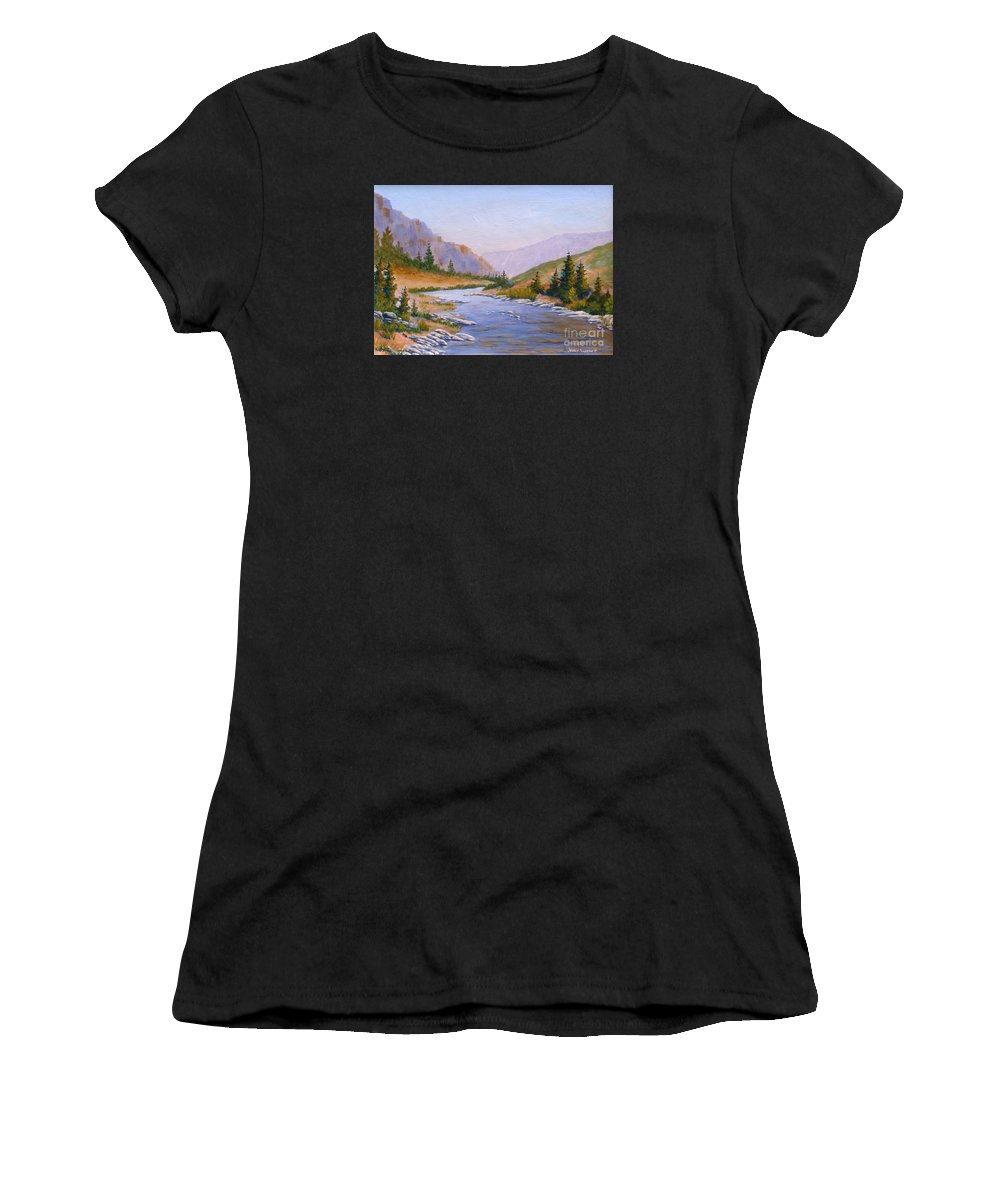 Stream Women's T-Shirt (Athletic Fit) featuring the painting Trout Stream by Jerry Walker