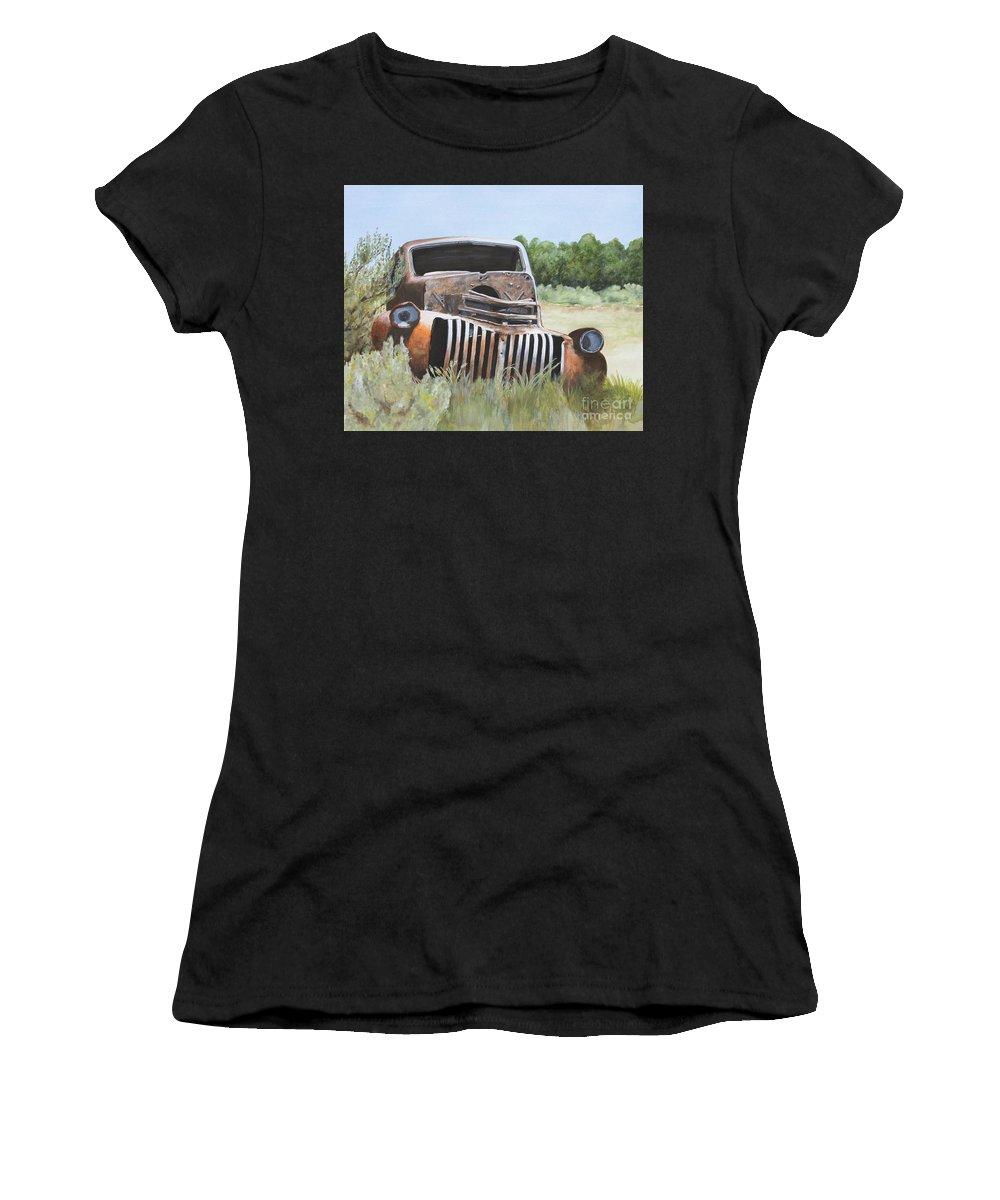 Abandoned Women's T-Shirt featuring the painting Truck Stop by Shirley Miller