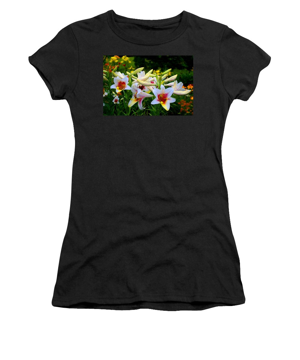 Lily Women's T-Shirt featuring the photograph Trumpet Lilies by Kathryn Meyer