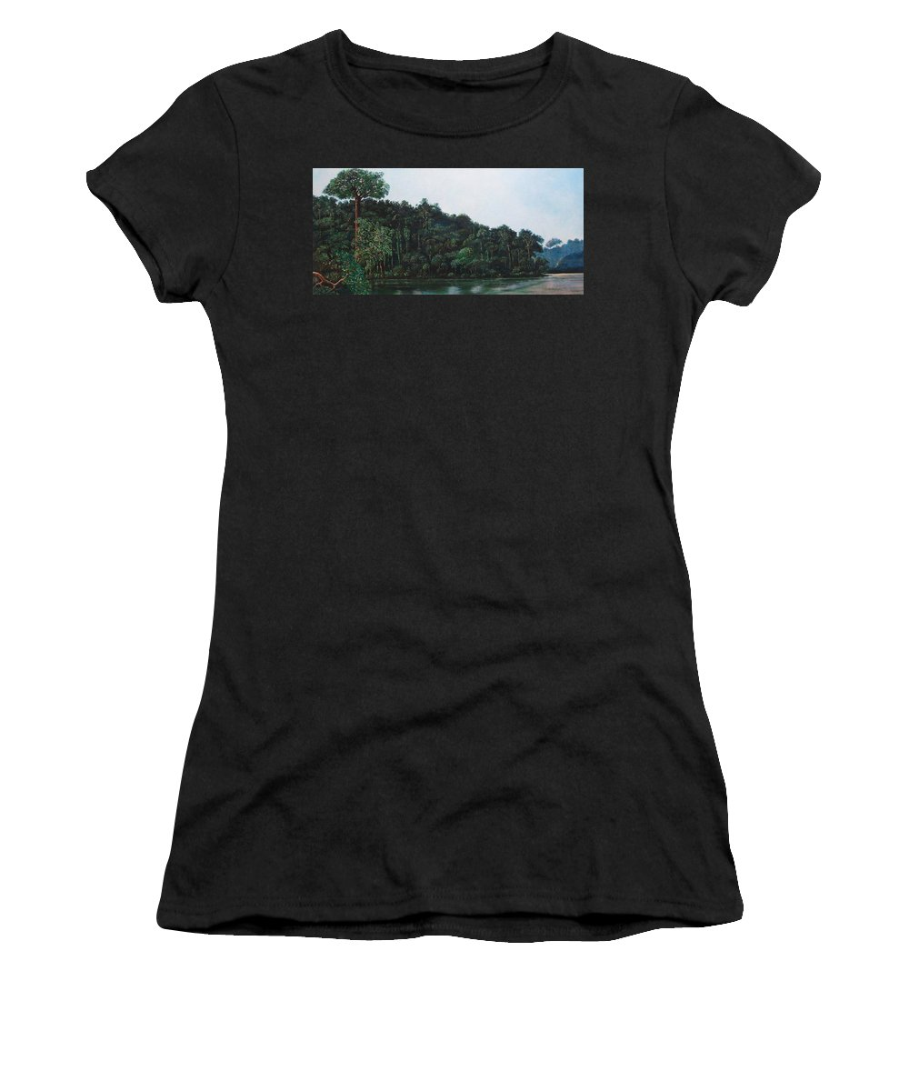 Landscape. Women's T-Shirt (Athletic Fit) featuring the painting Tuira by Ricardo Sanchez Beitia