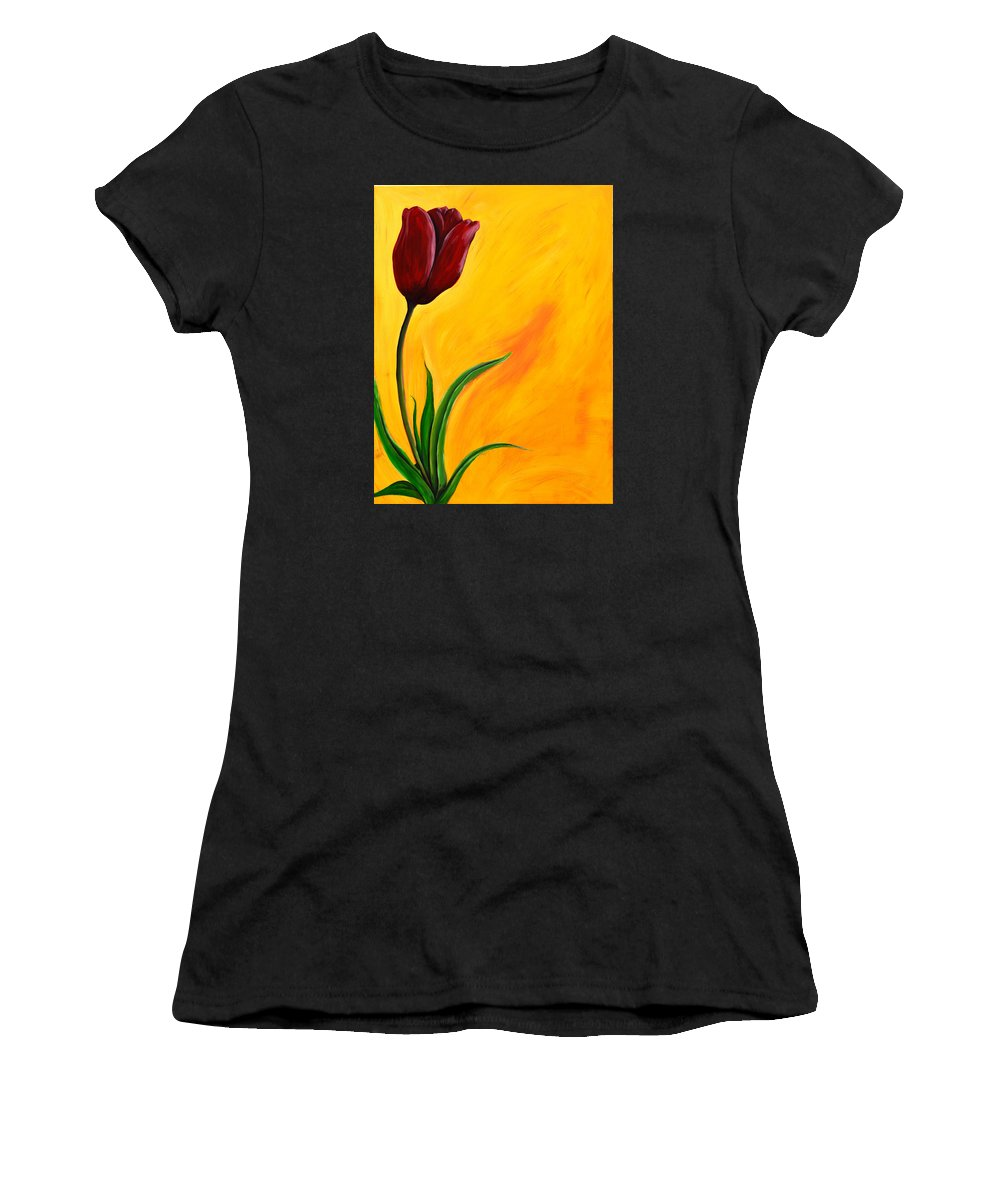 Tulip Women's T-Shirt featuring the painting Tulip by Meganne Peck