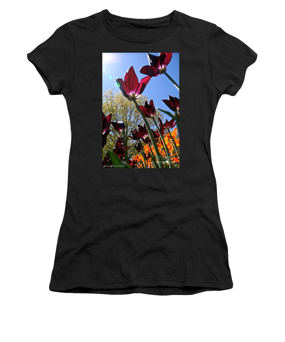 Flower Women's T-Shirt (Athletic Fit) featuring the photograph Tulip Tango by Susan Herber