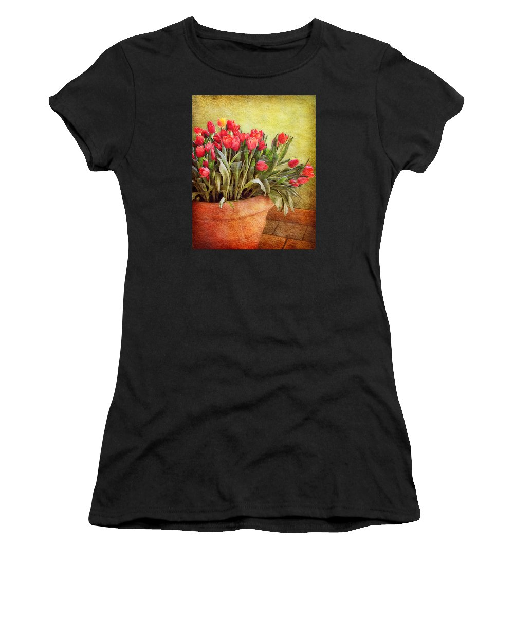 Tulips Women's T-Shirt featuring the photograph Tulip Tumble by Nikolyn McDonald