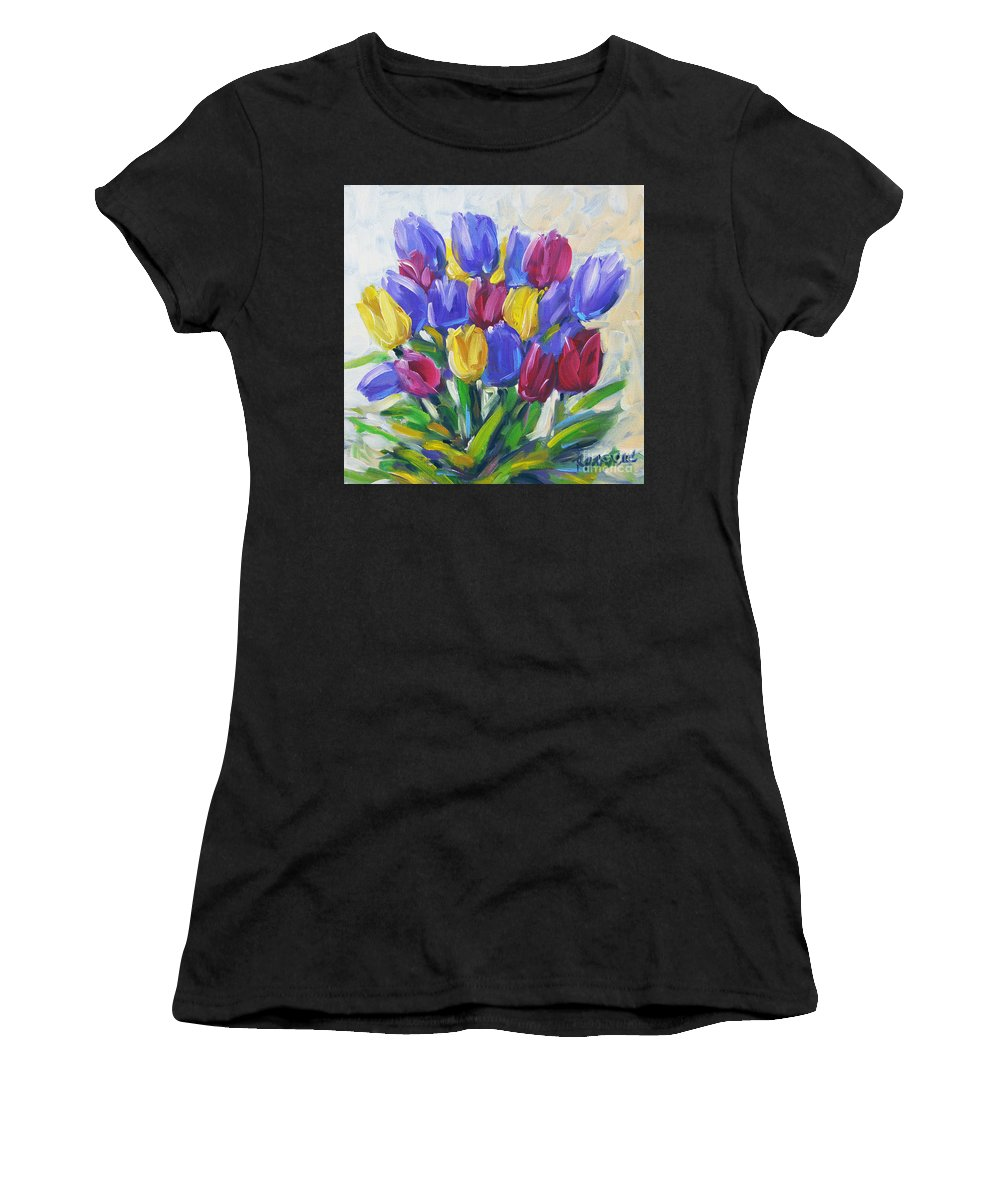 Canadian Landscape Created By Richard T Pranke Artiste Floral Scene Women's T-Shirt featuring the painting Tulips Time Love The Spring By Prankearts by Richard T Pranke