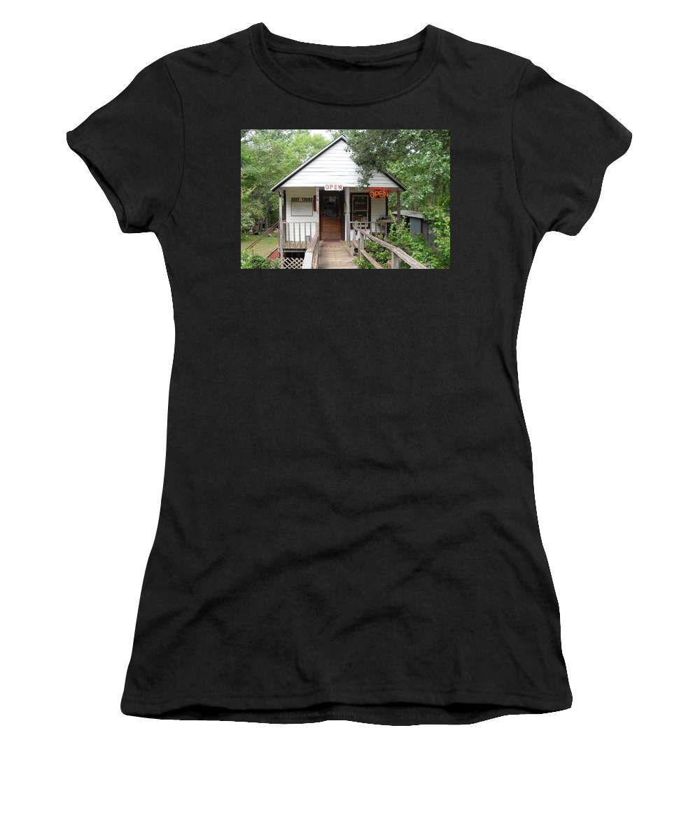 River Boat Tours Women's T-Shirt (Athletic Fit) featuring the photograph Turning Basin Bayou Tours Jefferson Texas by Donna Wilson