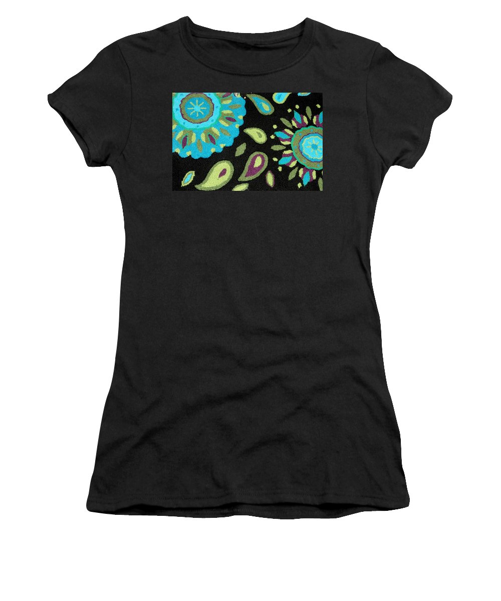 Turquoise Textile Photograph Women's T-Shirt featuring the photograph Tapestry Turquoise Rug by Janette Boyd