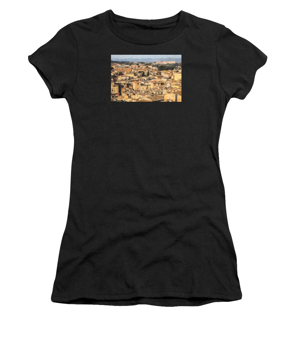 Siena Women's T-Shirt featuring the digital art Tuscan Rooftops Siena by Liz Leyden