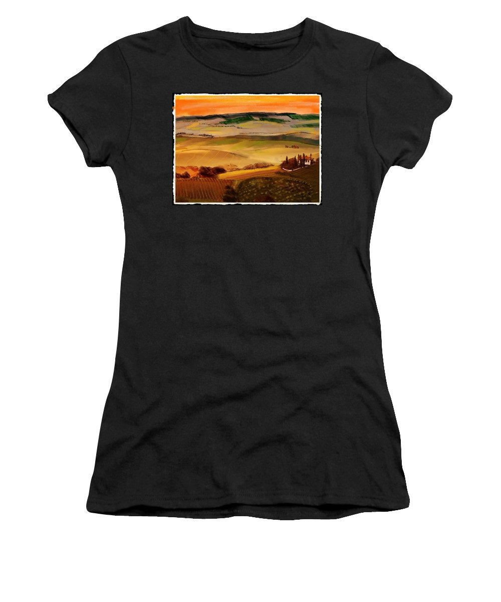 Colored Pencil And Pastel Sketch Of A Villa In Tuscany . Golden Hills Of Grain And Vineyards Women's T-Shirt featuring the mixed media Tuscany by Craig Nelson