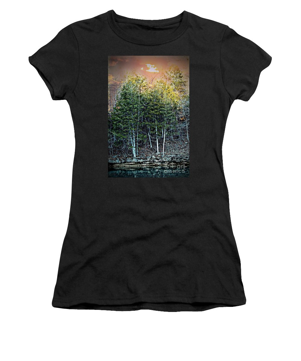 Twilight Women's T-Shirt (Athletic Fit) featuring the photograph Twilight At Dogwood Canyon by Elizabeth Winter