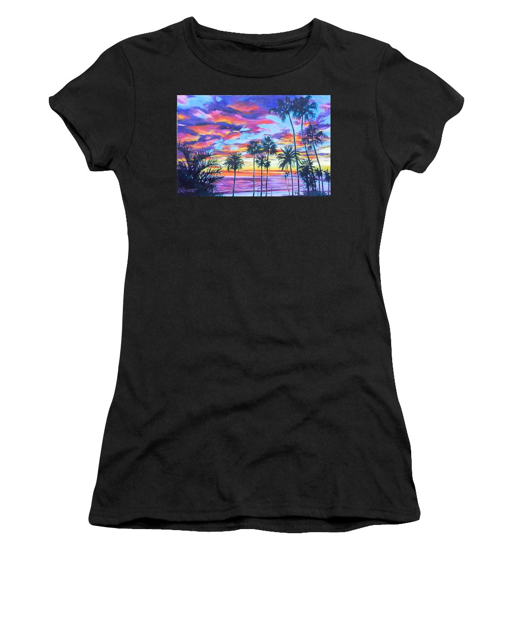 Sunset Women's T-Shirt (Athletic Fit) featuring the painting Twilight Palms by Bonnie Lambert