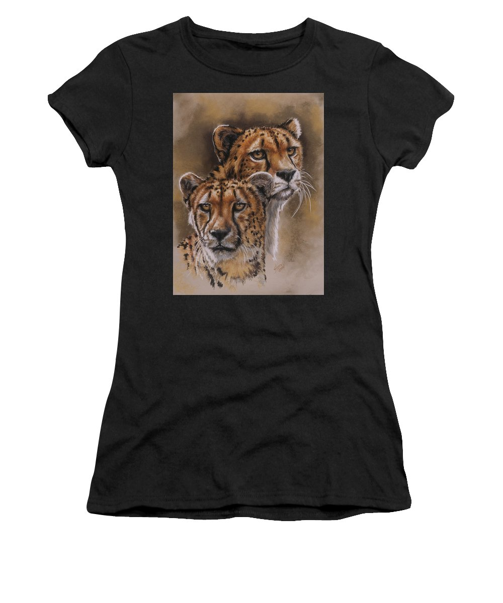 Cheetah Women's T-Shirt (Athletic Fit) featuring the pastel Twins by Barbara Keith