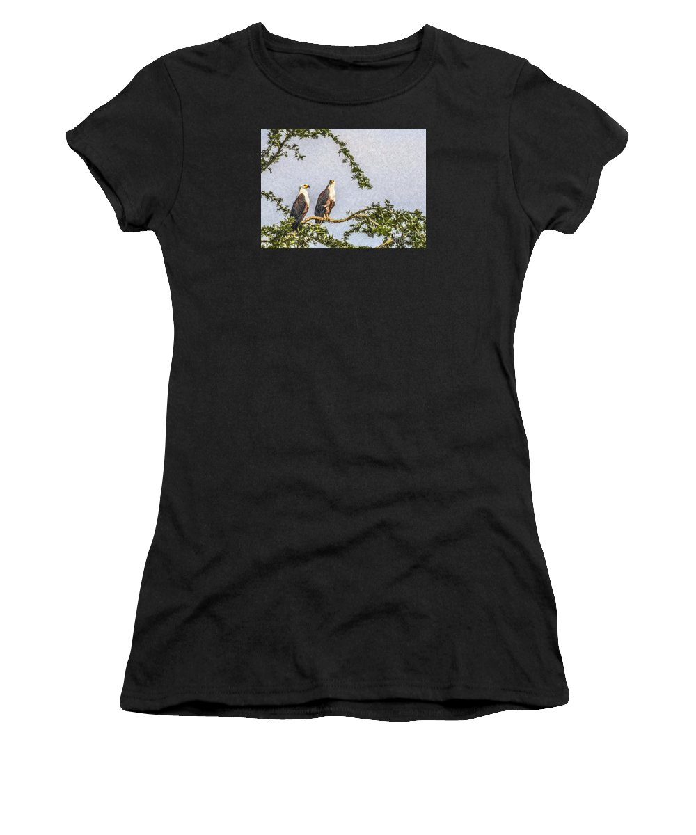 African Fish Eagle Women's T-Shirt (Athletic Fit) featuring the digital art Two African Fish Eagles Haliaeetus Vocifer by Liz Leyden