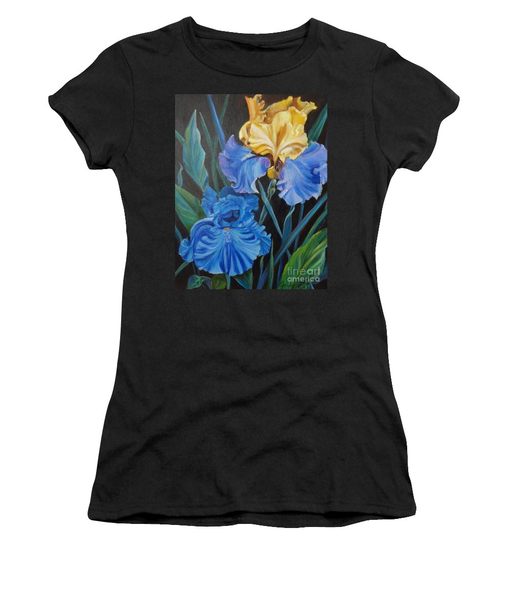 Blue Iris Women's T-Shirt featuring the painting Two Fancy Iris by Jenny Lee