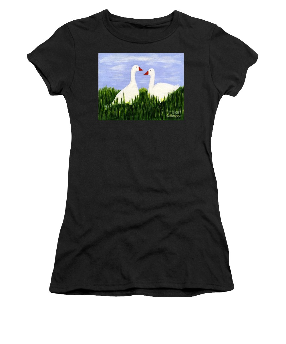 Geese Women's T-Shirt (Athletic Fit) featuring the painting Two Geese by Barbara Moignard